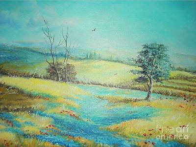 Art Print featuring the painting Landscape With Lavanda  by Sorin Apostolescu