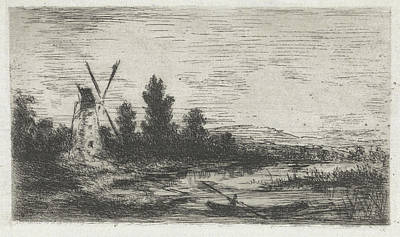 Water Mill Drawing - Landscape With Mill And Rowing Boat by Arnoud Schaepkens