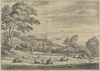 Pheasant Drawing - Landscape With Pheasant And Snipe, Johannes Kip by Johannes Kip And Edward Cooper