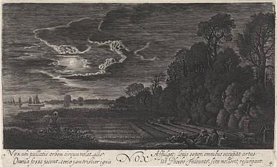 Finch Drawing - Landscape With Resting Bird Catchers Night by Jan Van De Velde (ii)