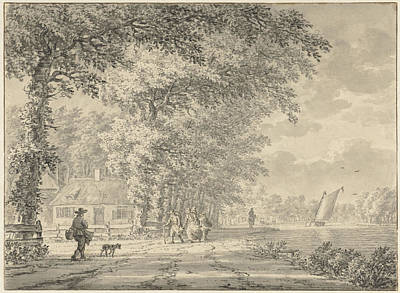 Frankenstein Drawing - Landscape With Road Along A Canal, Johann Goll Van by Quint Lox