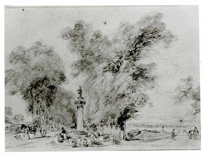 Sepia Ink Drawing - Landscape With Road And Monument by Imitator of Jean Honor� Fragonard