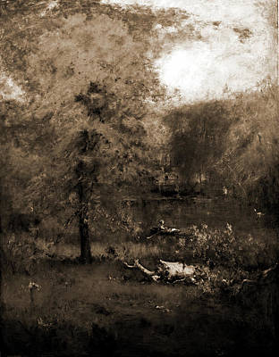 Rowboat Drawing - Landscape With Rowboat, Inness, George, 1825-1894 by Litz Collection