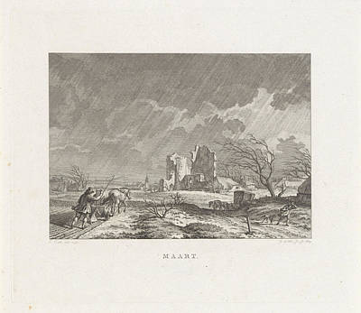 Rain Drawing - Landscape With Ruins And A Farmer Plowing In The Rain by Izaak Jansz. De Wit