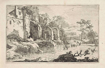 Landscape With Ruins And A Shepherd, Jan Smees Art Print