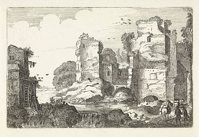 Water Mill Drawing - Landscape With Ruins And A Water Mill, Jan Van De Velde II by Jan Van De Velde (ii)
