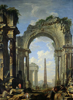Faded Painting - Landscape With Ruins by Giovanni Niccolo Servandoni