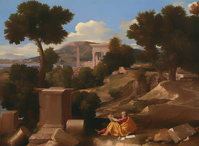 Christian Artwork Painting - Landscape With Saint John On Patmos by Mountain Dreams