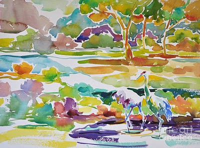 Painting - Landscape With Sand Hill Cranes by Roger Parent