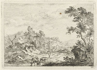 Landscape With Shepherd And Cattle By Brook Art Print