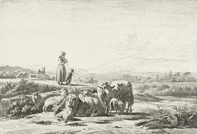 Herding Dog Drawing - Landscape With Shepherd And Dog With Flock Of Sheep by Simon Van Den Berg