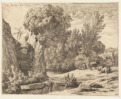 Landscape With Shepherd And Three Cows, Karel Dujardin Art Print by Karel Dujardin