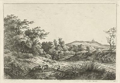 Landscape With Shepherd And Wife, Print Maker Hermanus Fock Art Print by Hermanus Fock