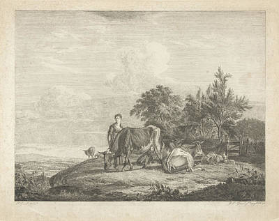 Landscape With Shepherdess With Her Flock Art Print by Jacobus Cornelis Gaal And Pieter Gaal