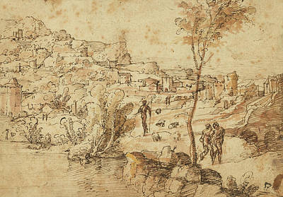 Light Orange Drawing - Landscape With Shepherds By A River And A Town by Litz Collection