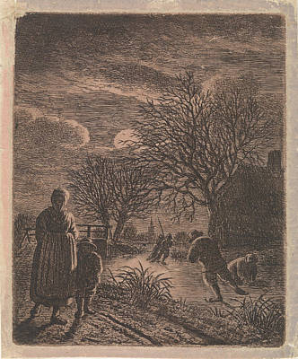 Winter Night Drawing - Landscape With Skaters, Johannes Christiaan Janson by Johannes Christiaan Janson