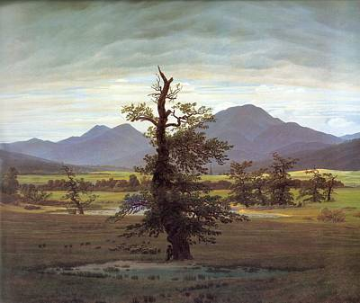 Painting - Landscape With Solitary Tree by Caspar David Friedrich