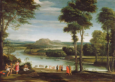 Baptist Painting - Landscape With St. John Baptising by Domenichino