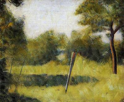 Pointilist Painting - Landscape With Stake by Georges Seurat