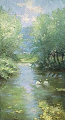 Villa Painting - Landscape With Swans by Guido Bertarelli