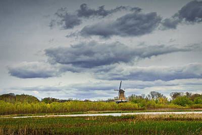 Netherlands Windmill Photograph - Landscape With The Dezwaan Dutch Windmill On Windmill Island In Holland Michigan by Randall Nyhof