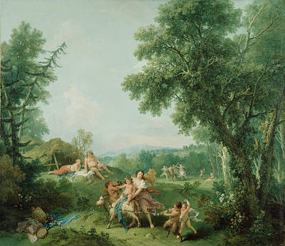 Education Painting - Landscape With The Education Of Bacchus Francesco Zuccarelli by Litz Collection