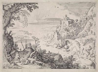 Coastal Landscape Drawing - Landscape With The Good Samaritan, Willem Van Nieulandt II by Willem Van Nieulandt (ii) And Paul Bril