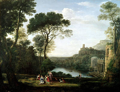 Greek Temple Photograph - Landscape With The Nymph Egeria Oil On Panel by Claude Lorrain