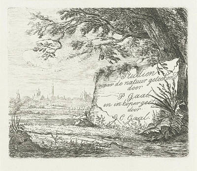 Landscape With The Prospect Of A Village Print by Jacobus Cornelis Gaal