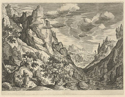Nature Scene Drawing - Landscape With The Temptation Of Christ In The Desert by Johann Sadeler I
