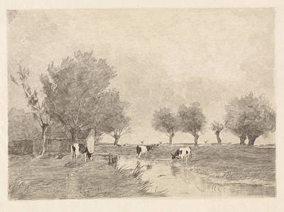 Swamp Drawing - Landscape With Three Cows In A Ditch, Elias Stark by Elias Stark And Johan Hendrik Weissenbruch