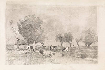 Landscape With Three Cows In A Ditch, Elias Stark Art Print