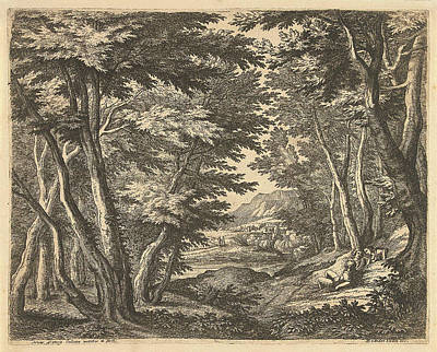 Clearing Drawing - Landscape With Three Men In A Clearing In The Forest by Adriaen Frans Boudewyns And Martinus Van Den Enden (ii)