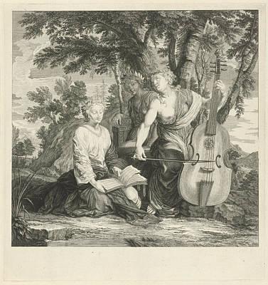 Music Score Drawing - Landscape With Three Music-making Muses, Eustache Lesueur by Eustache Lesueur Bernard Picart