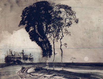 Castles Drawing - Landscape With Three Trees by Victor Hugo