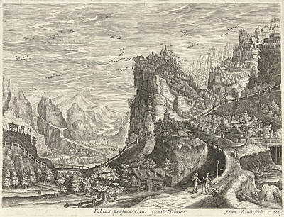 Landscape With Tobias And Archangel Raphael On Road Art Print by Johan Barra And Giovanni Domenico Zapponi