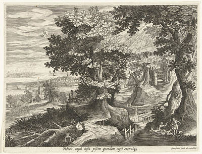 Landscape With Tobias And The Archangel Raphael Cleaning Art Print