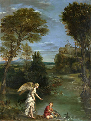 Painting - Landscape With Tobias Laying Hold Of The Fish by Domenichino