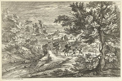 Surprise Drawing - Landscape With Travelers Surprised By Storm by Adriaen Frans Boudewyns And Adam Frans Van Der Meulen