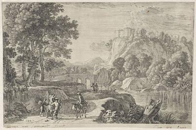 Stone Buildings Drawing - Landscape With Travellers, Herman Van Swanevelt by Herman Van Swanevelt