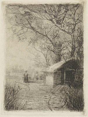 Stark Drawing - Landscape With Trees, A Barn And A Road, Elias Stark by Elias Stark