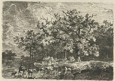 Landscape With Trees And Woman On A A Donkey In Shallow Art Print