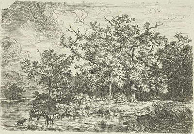 Landscape With Trees And Woman On A Donkey In Shallow Water Art Print