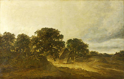 Landscape With Trees Buildings And A Road Art Print by Georges Michel