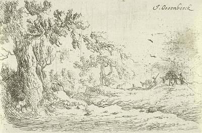 Keeper Drawing - Landscape With Two Donkey Keepers, Jan Van Ossenbeeck by Jan Van Ossenbeeck
