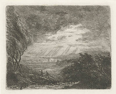 Landscape With Two Figures In Storm And Rain Art Print