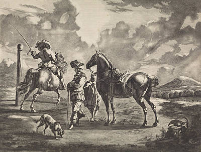 Pole Drawing - Landscape With Two Horses, Jan De Visscher by Jan De Visscher And Pieter Schenk (i)
