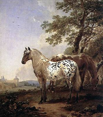 Landscape With Two Horses Art Print
