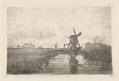 Stark Drawing - Landscape With Two Mills, Elias Stark by Elias Stark