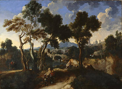 Goat Painting - Landscape With Villagers, C.1640 by Gaspard & Miel, Jan van Dughet